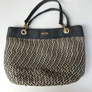 Eric Javits Black and Cream Weave Shoulder Bag